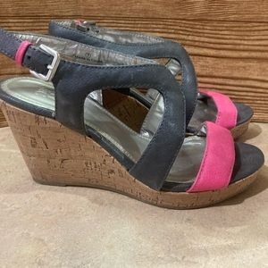 NY&C wedge sandal pink and gray cork heel size 7.